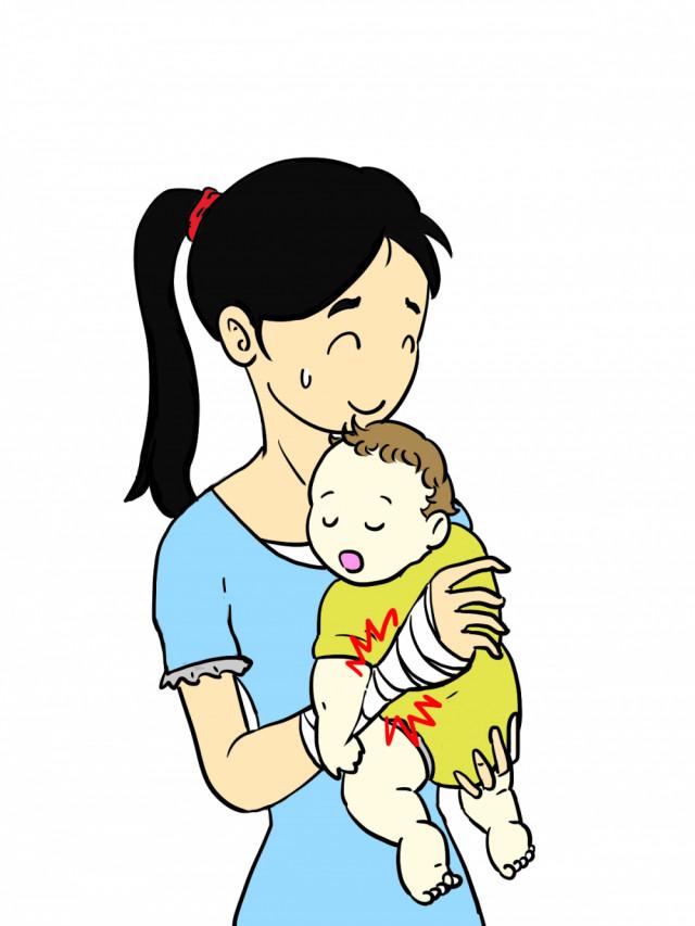 腱鞘炎のママが赤ちゃんを抱っこする